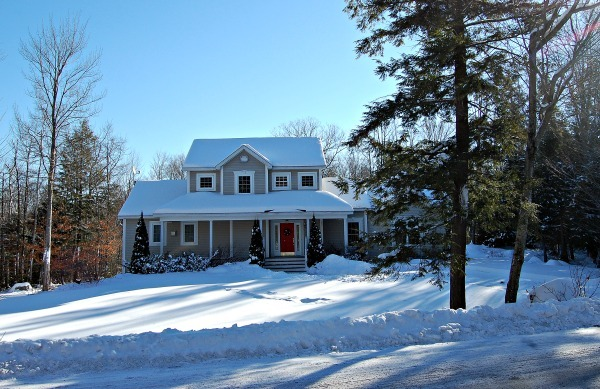 Our house in winter--www.thethreeyearexperiment.com