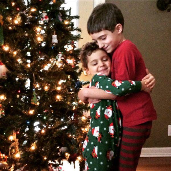 Christmas hug--www.thethreeyearexperiment.com