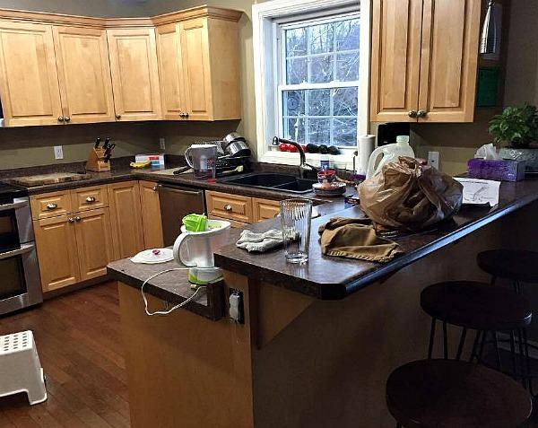 messy kitchen--www.thethreeyearexperiment.com
