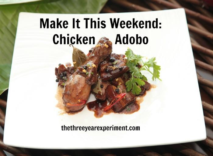 Adobo chicken--www.thethreeyearexperiment.com