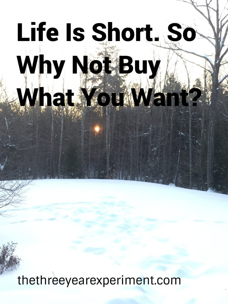 Life is Short. So Why Not Buy What You Want?---www.thethreeyearexperiment.com