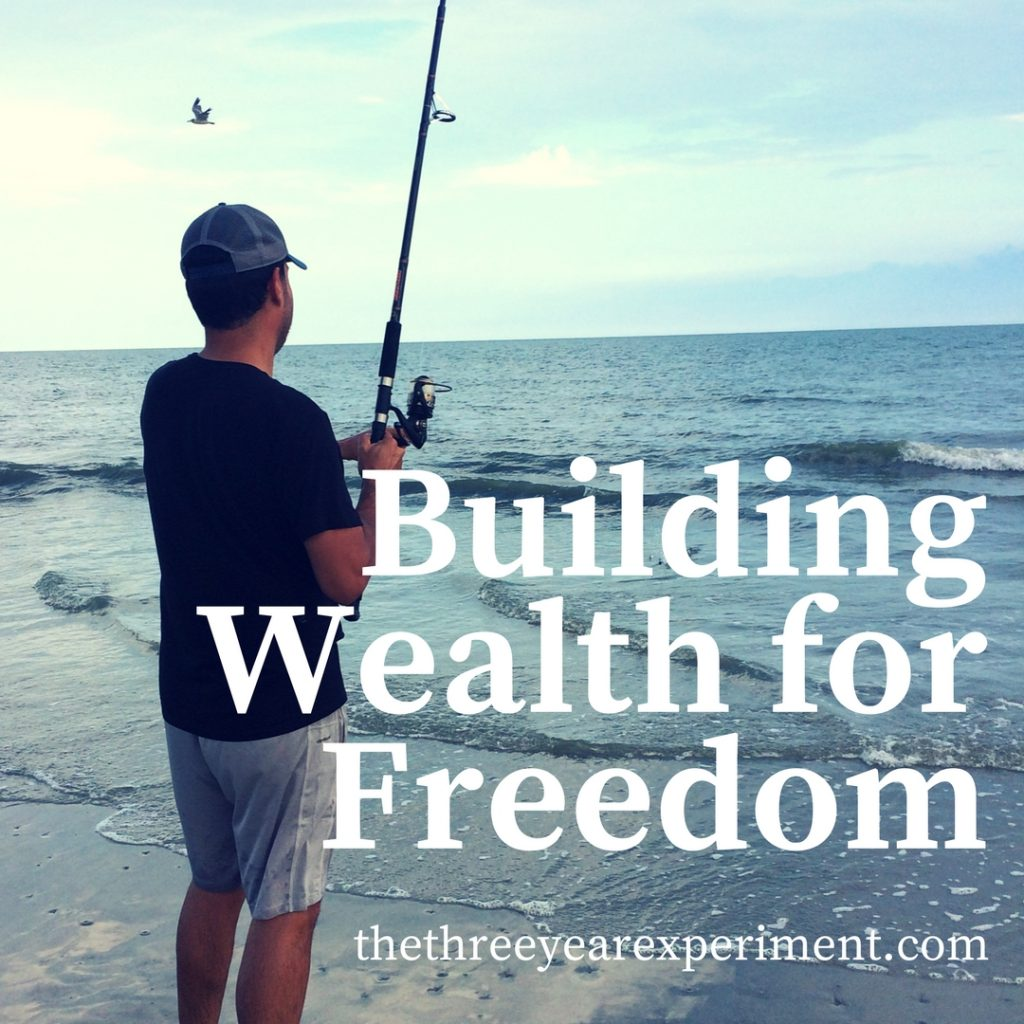 Fishing on the beach building wealth freedom www.thethreeyearexperiment.com