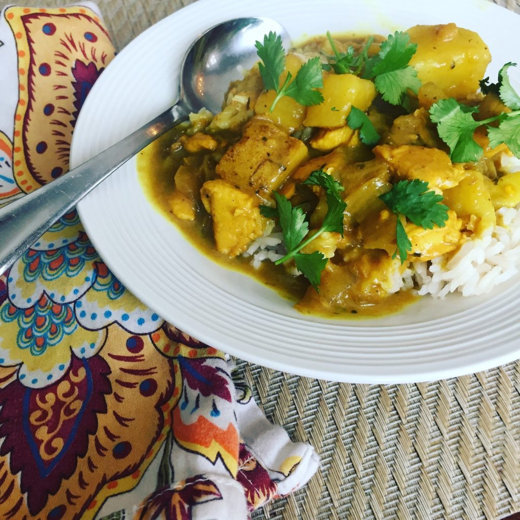 Homemade yellow curry and rice www.thethreeyearexperiment.com