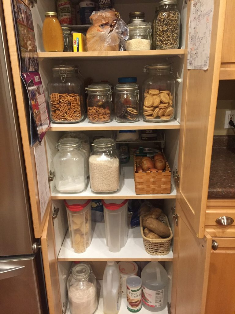 Snacks in the pantry glass jars www.thethreeyearexperiment.com