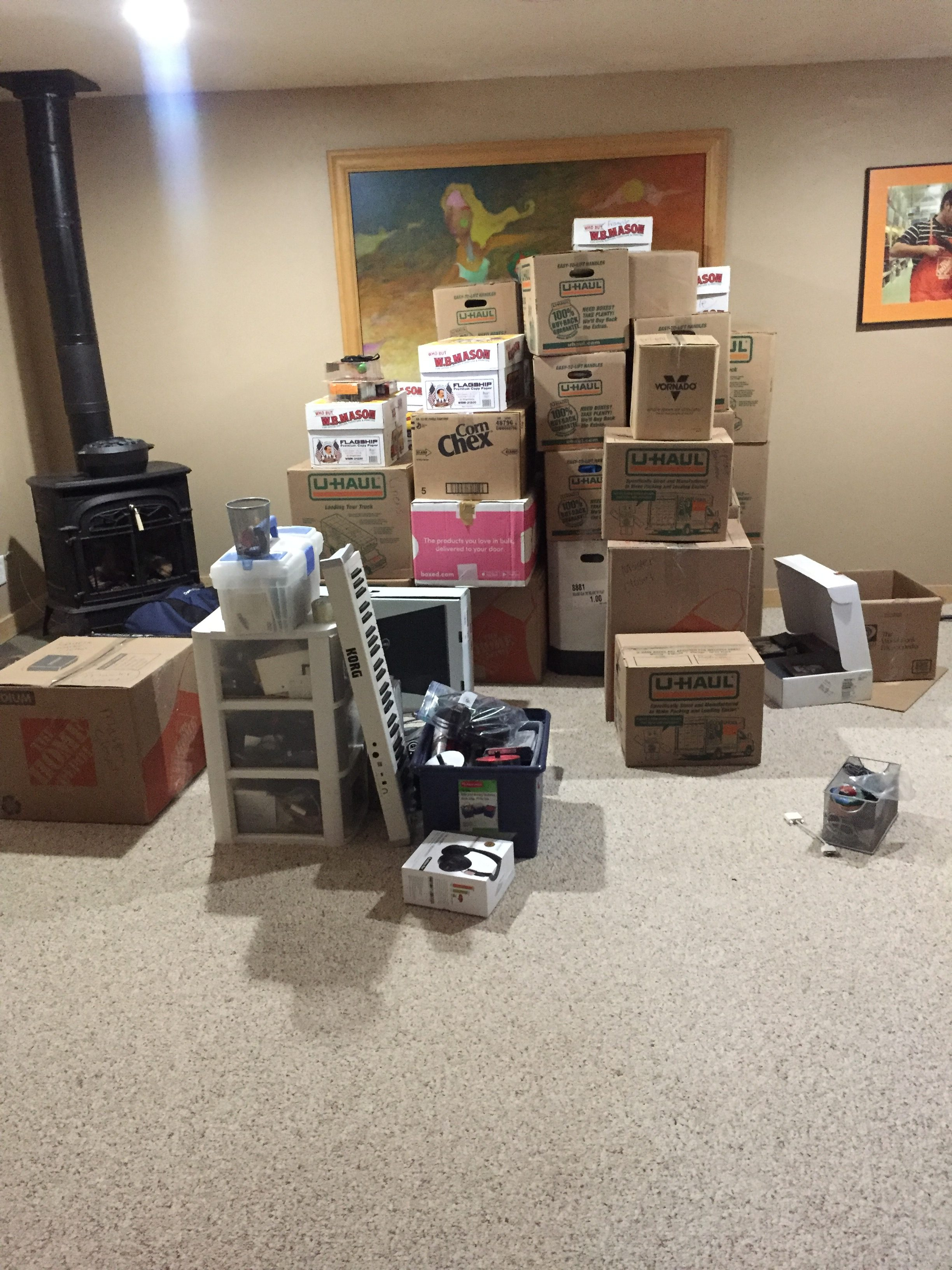 Mountain of moving boxes May Net Worth Update www.thethreeyearexperiment.com