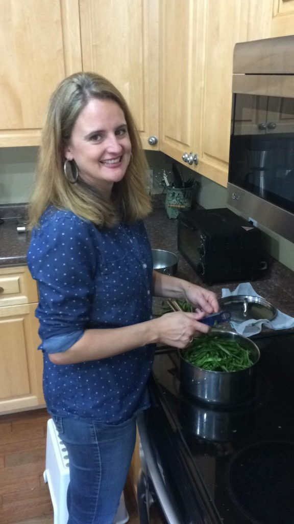 cooking dinner--www.thethreeyearexperiment.com