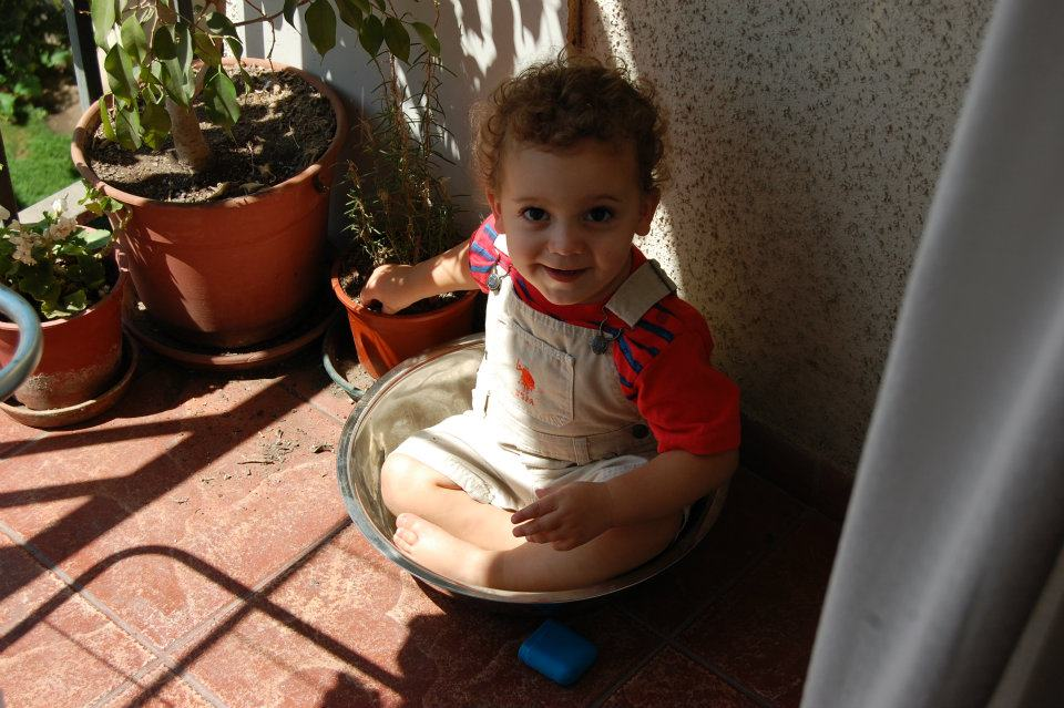 baby in a bowl in Santiago--www.thethreeyearexperiment.com