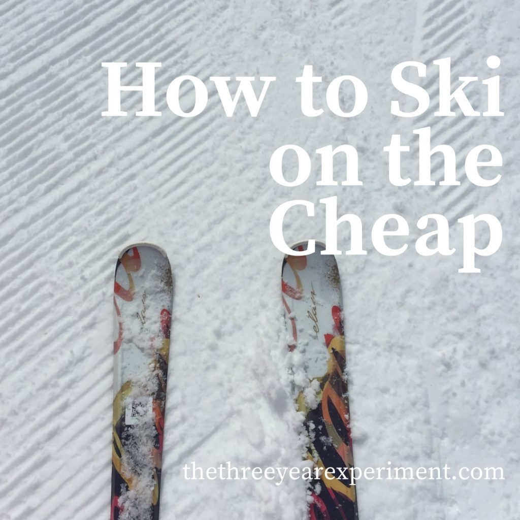 How to Ski on the Cheap Skis in the Snow www.thethreeyearexperiment.com