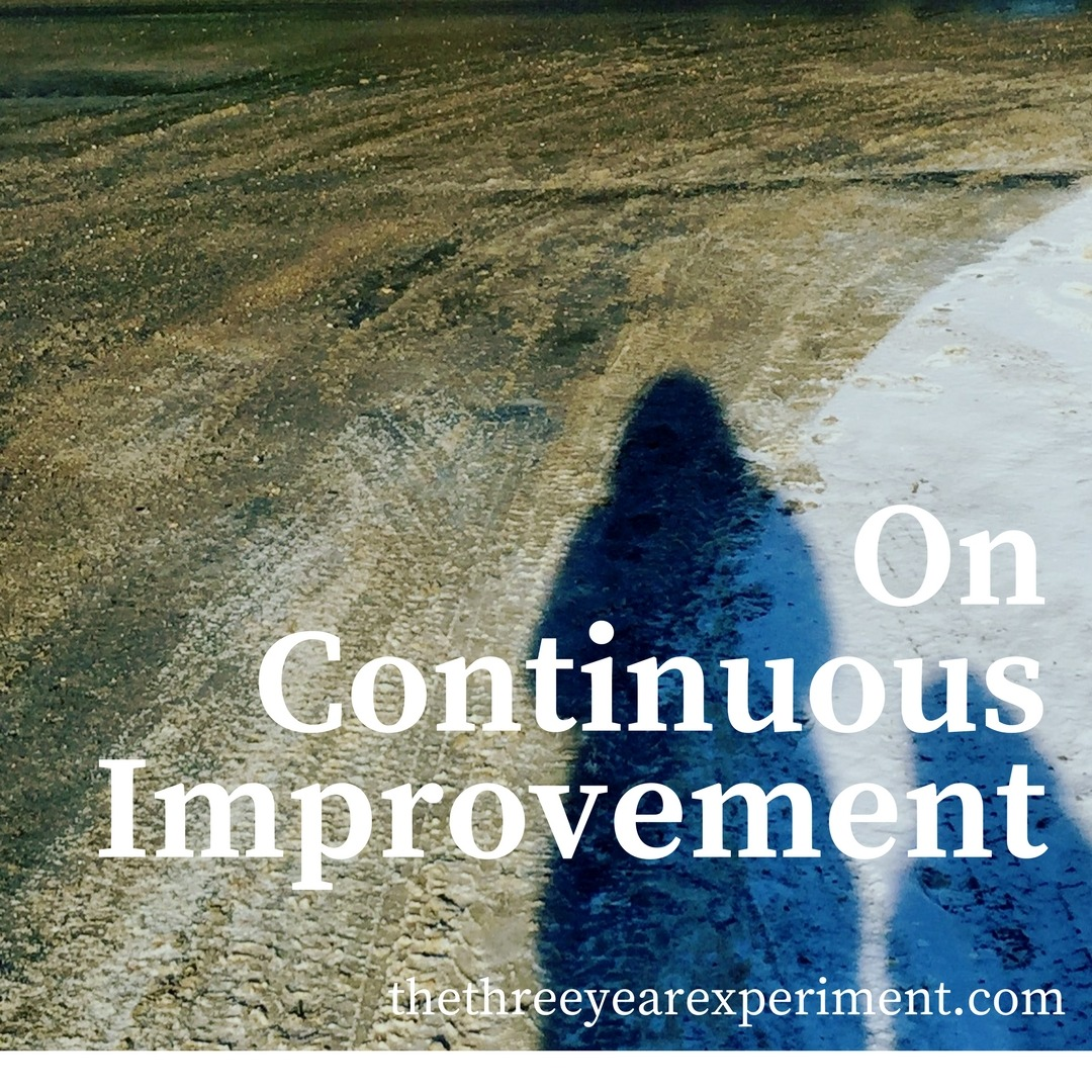 On Continuous Improvement www.thethreeyearexperiment.com