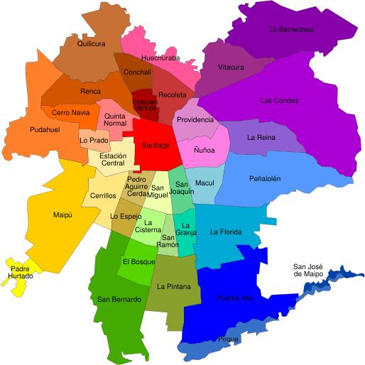 comunas of Santiago--www.thethreeyearexperiment.com