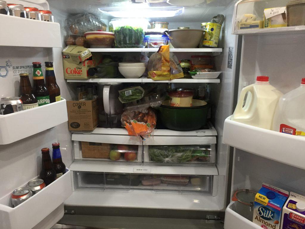 Overfull fridge--www.thethreeyearexperiment.com