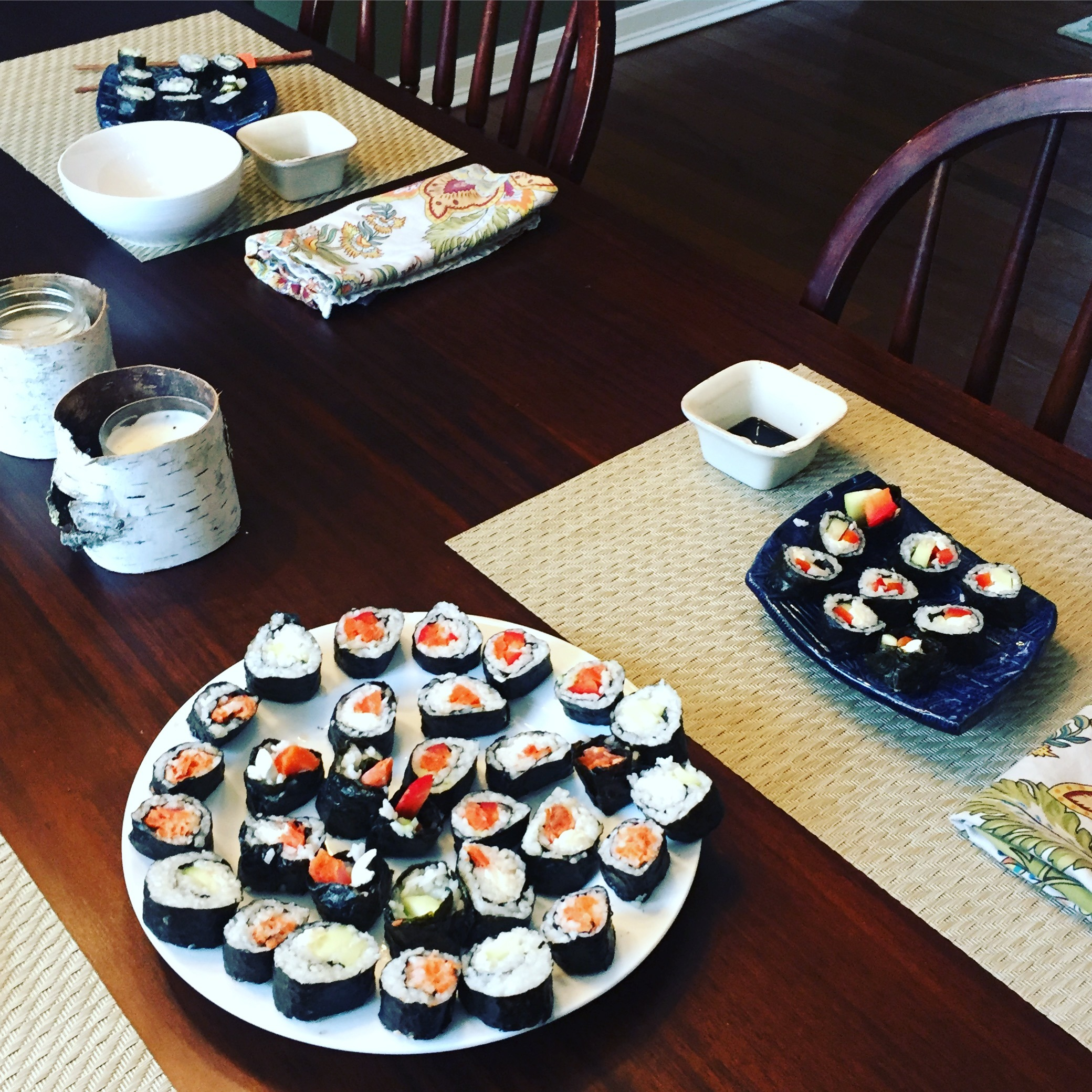 Homemade sushi dinner www.thethreeyearexperiment.com