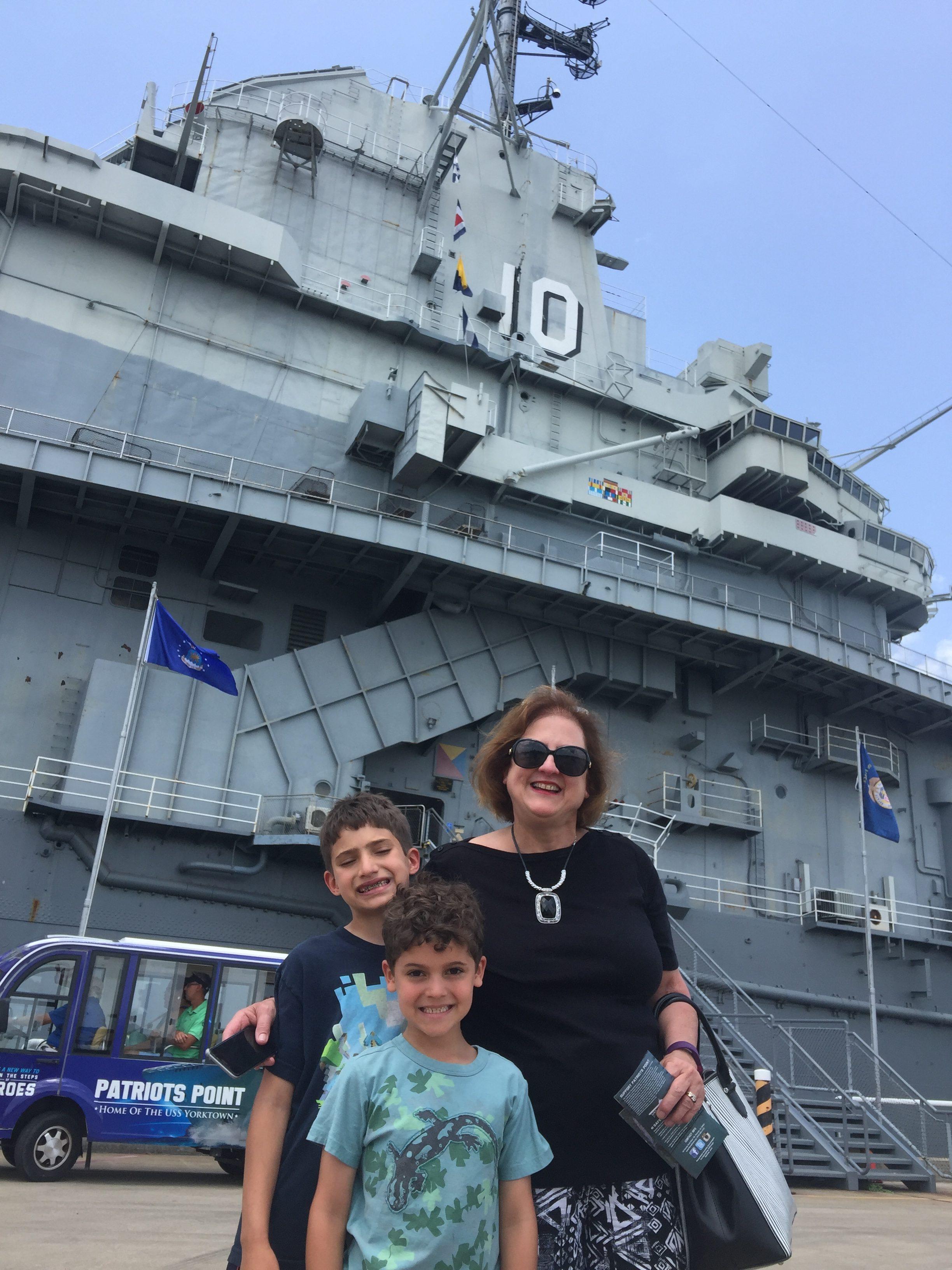 grandma with boys USS Constitution www.thethreeyearexperiment.com