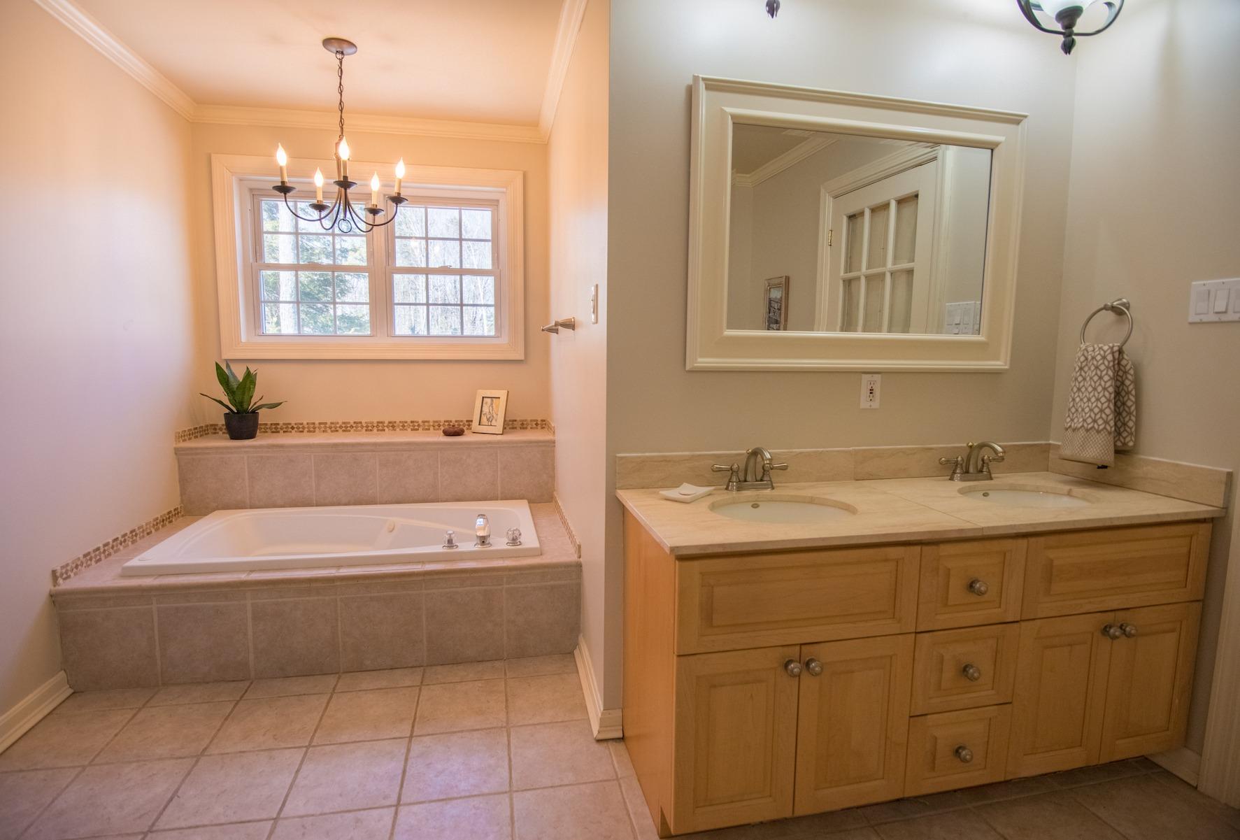 Master bathroom tub www.thethreeyearexperiment.com