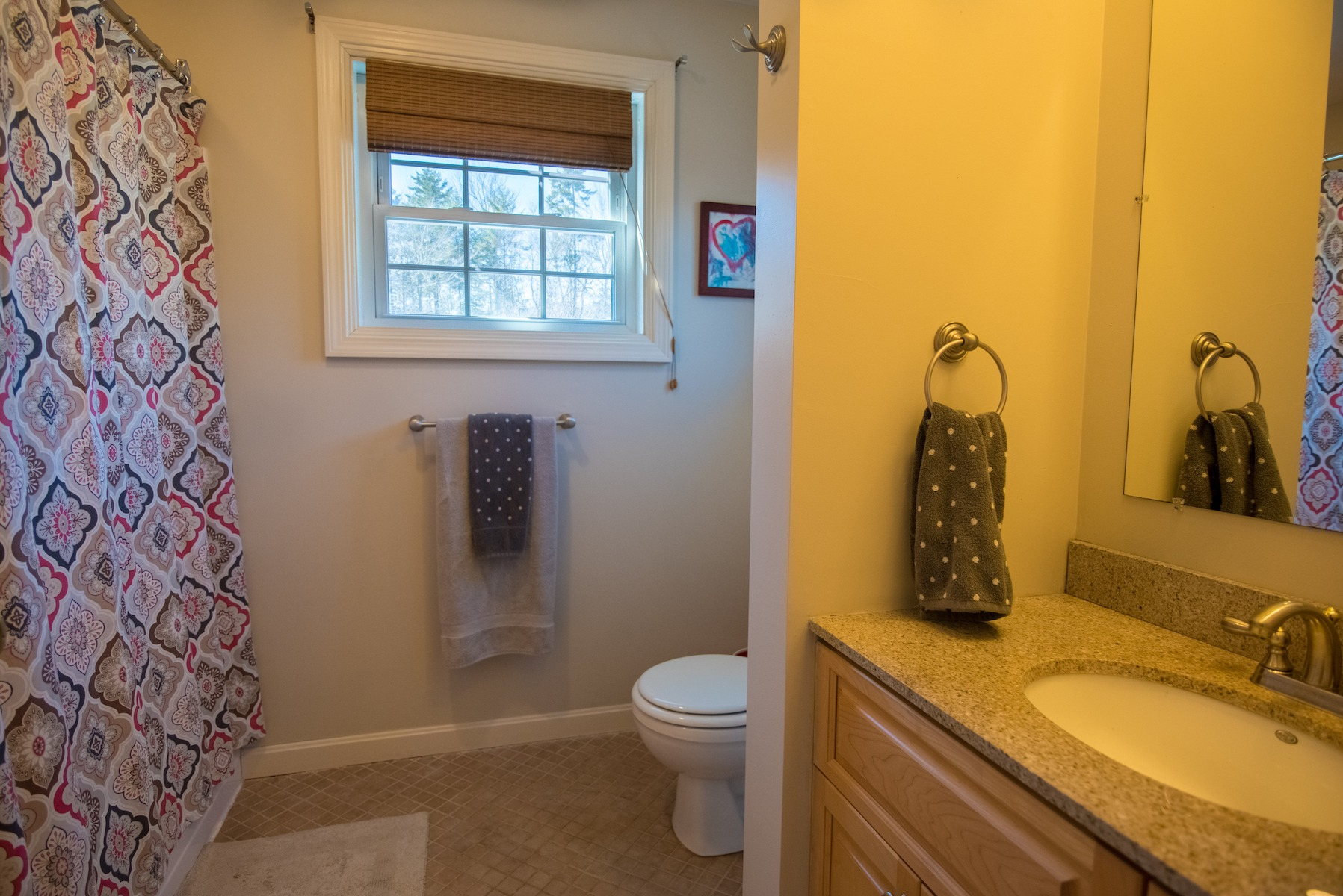 gray guest bathroom painted www.thethreeyearexperiment.com