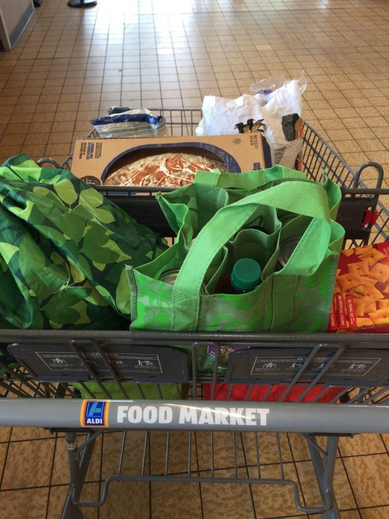 Aldi grocery cart www.thethreeyearexperiment.com