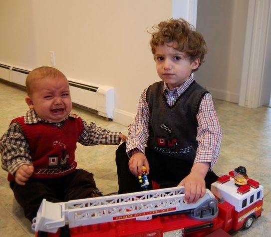 Boys firetruck crying www.thethreeyearexperiment.com