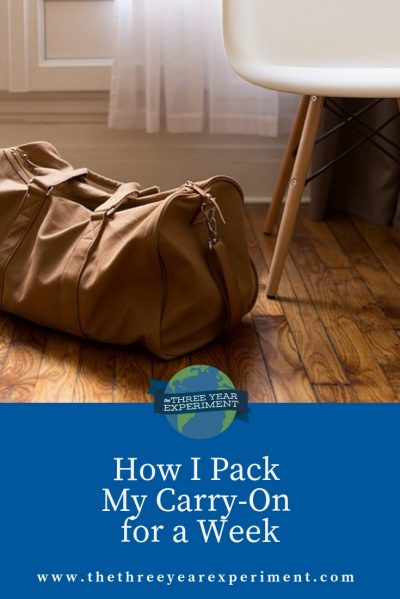 As a semi-minimalist, I've pared my wardrobe down. So how do I pack my carry-on to go on a trip for the week? Here's everything I bring, what I can't live without, and what I leave at home. #traveling #carryon #travelpack #whattopack #howtopack #shorttrip #familytravel #simpleliving